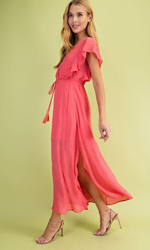 Image of long casual coral pink maxi party dress. Style: FG-BNB-21-LLOLV59154 Detail Image 1