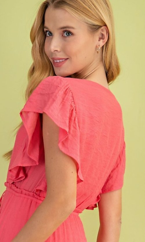 Image of long casual coral pink maxi party dress. Style: FG-BNB-21-LLOLV59154 Detail Image 2