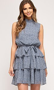 Image of short tiered light blue casual print party dress. Style: FG-BNB-21-SSSS61570 Front Image