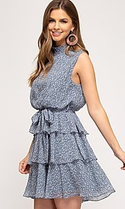 Image of short tiered light blue casual print party dress. Style: FG-BNB-21-SSSS61570 Detail Image 1