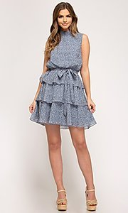 Image of short tiered light blue casual print party dress. Style: FG-BNB-21-SSSS61570 Detail Image 2