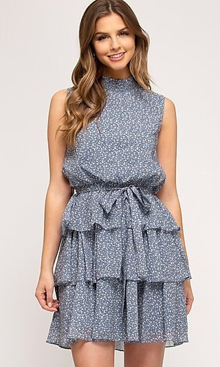 Short Tiered Light Blue Casual Print Party Dress
