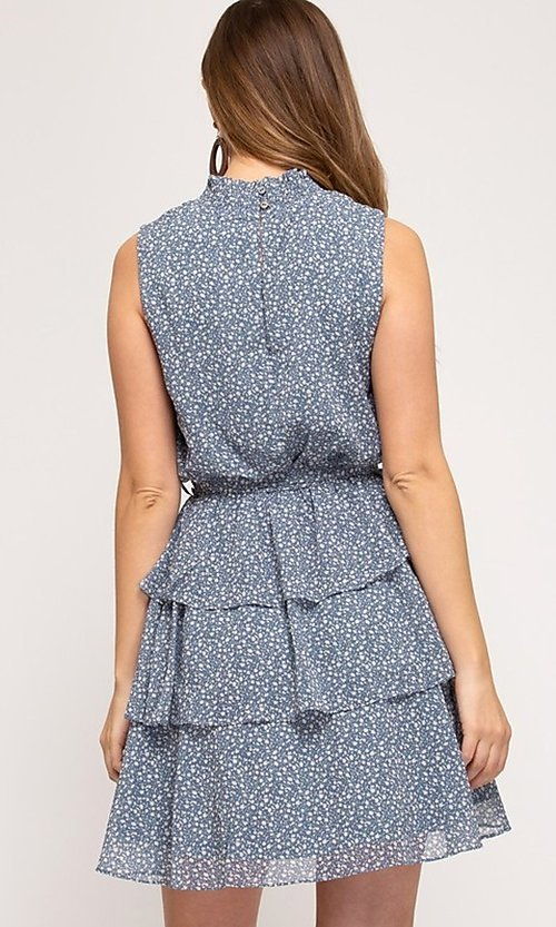Image of short tiered light blue casual print party dress. Style: FG-BNB-21-SSSS61570 Back Image