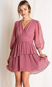 Image of mauve pink short tiered wedding-guest party dress. Style: FG-BNB-21-PGBD49447 Front Image