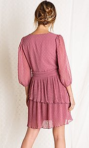 Image of mauve pink short tiered wedding-guest party dress. Style: FG-BNB-21-PGBD49447 Back Image