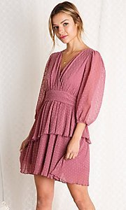 Image of mauve pink short tiered wedding-guest party dress. Style: FG-BNB-21-PGBD49447 Detail Image 1