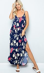 Image of flounce-top long floral print summer maxi dress. Style: FG-FTA-21-SLG8761 Front Image