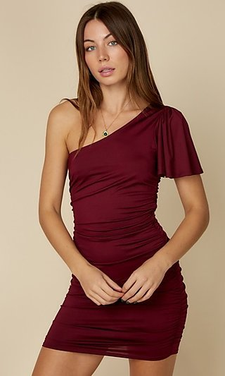 Ruched One Shoulder Bodycon Mini Dress