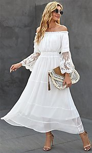 Image of Bohemian white maxi dress with lace bell sleeves. Style: FG-SHI-21-SW611985 Detail Image 1
