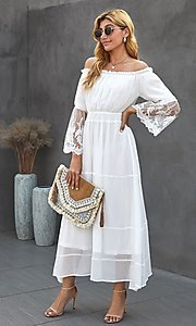 Image of Bohemian white maxi dress with lace bell sleeves. Style: FG-SHI-21-SW611985 Detail Image 2