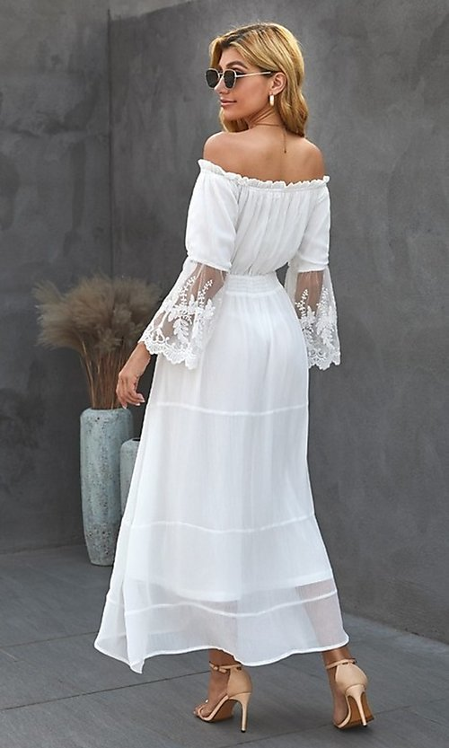 Image of Bohemian white maxi dress with lace bell sleeves. Style: FG-SHI-21-SW611985 Back Image