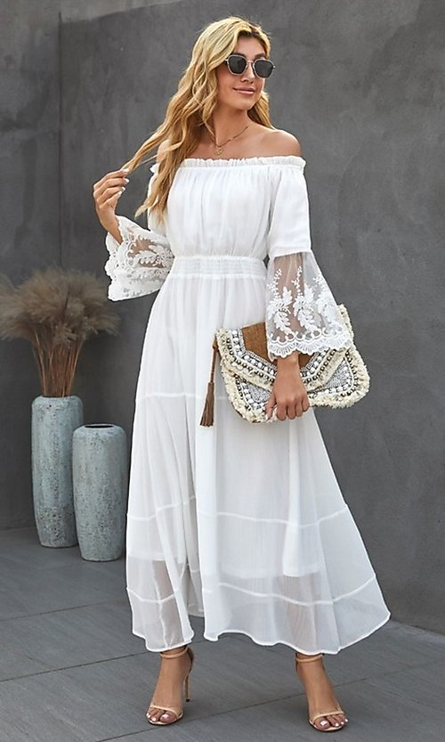 Image of Bohemian white maxi dress with lace bell sleeves. Style: FG-SHI-21-SW611985 Detail Image 3