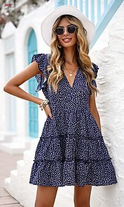 Image of polka-dot print short casual summer party dress. Style: FG-SHI-21-SW224403 Front Image