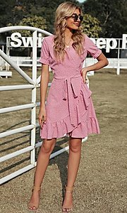 Image of pink wrap-style casual short print party dress. Style: FG-SHI-21-SW223660-10 Front Image