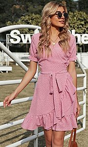 Image of pink wrap-style casual short print party dress. Style: FG-SHI-21-SW223660-10 Detail Image 1