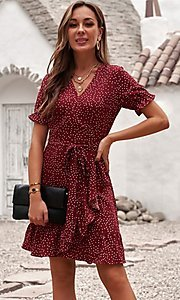 Image of pink wrap-style casual short print party dress. Style: FG-SHI-21-SW223660-10 Detail Image 3