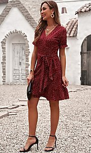 Image of pink wrap-style casual short print party dress. Style: FG-SHI-21-SW223660-10 Detail Image 5