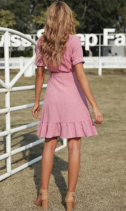 Image of pink wrap-style casual short print party dress. Style: FG-SHI-21-SW223660-10 Back Image