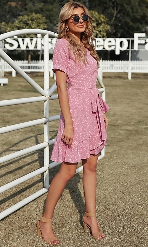 Image of pink wrap-style casual short print party dress. Style: FG-SHI-21-SW223660-10 Detail Image 2