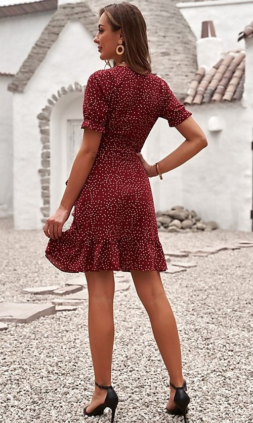 Image of pink wrap-style casual short print party dress. Style: FG-SHI-21-SW223660-10 Detail Image 4