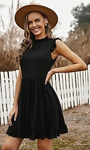 Image of casual ruffle-trim a-line cute short party dress. Style: FG-SHI-21-SW223664 Detail Image 3