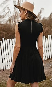 Image of casual ruffle-trim a-line cute short party dress. Style: FG-SHI-21-SW223664 Detail Image 4