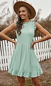 Image of casual ruffle-trim a-line cute short party dress. Style: FG-SHI-21-SW223664 Detail Image 1