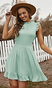 Image of casual ruffle-trim a-line cute short party dress. Style: FG-SHI-21-SW223664 Detail Image 2
