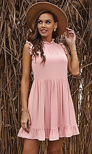 Image of casual ruffle-trim a-line cute short party dress. Style: FG-SHI-21-SW223664 Detail Image 6