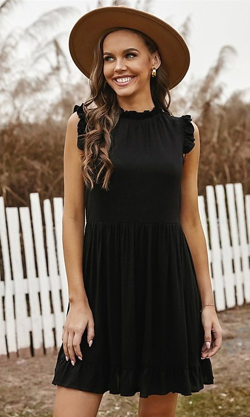 Image of casual ruffle-trim a-line cute short party dress. Style: FG-SHI-21-SW223664 Detail Image 5