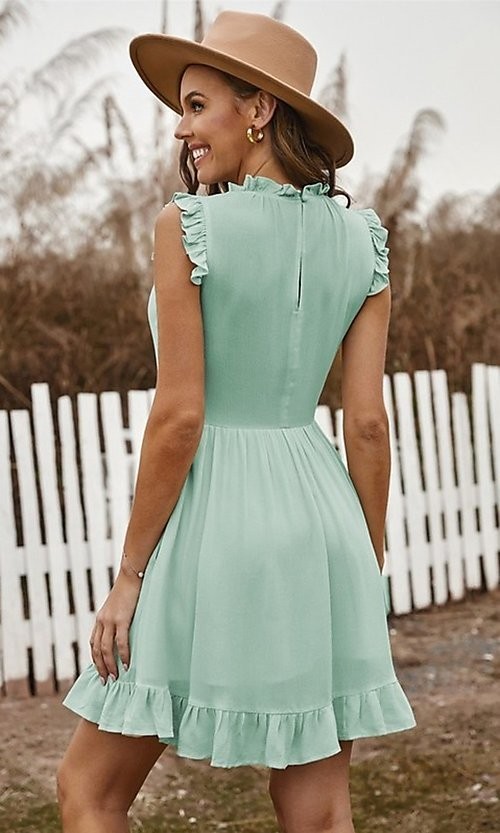 Image of casual ruffle-trim a-line cute short party dress. Style: FG-SHI-21-SW223664 Back Image
