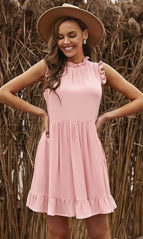Image of casual ruffle-trim a-line cute short party dress. Style: FG-SHI-21-SW223664 Front Image