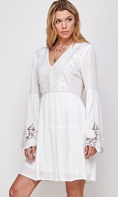 Image of white short party dress with long bell sleeves. Style: FG-ECR-21-ED16228TNA Detail Image 1