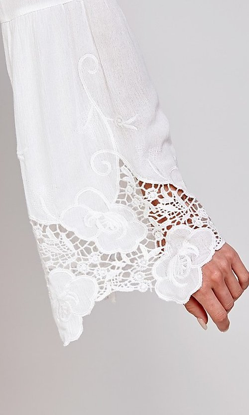 Image of white short party dress with long bell sleeves. Style: FG-ECR-21-ED16228TNA Detail Image 2