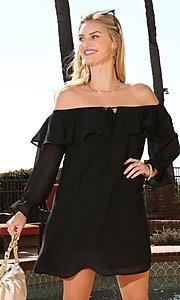 Image of off-shoulder short wedding guest shift party dress. Style: FG-NXS-21-CWDSD612-G Detail Image 2