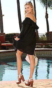 Image of off-shoulder short wedding guest shift party dress. Style: FG-NXS-21-CWDSD612-G Detail Image 3