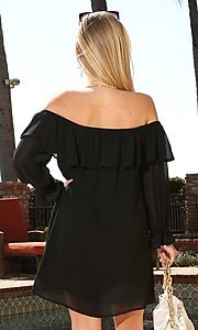 Image of off-shoulder short wedding guest shift party dress. Style: FG-NXS-21-CWDSD612-G Detail Image 4