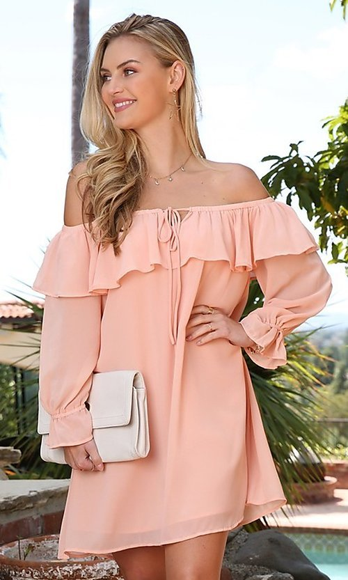 Image of off-shoulder short wedding guest shift party dress. Style: FG-NXS-21-CWDSD612-G Front Image