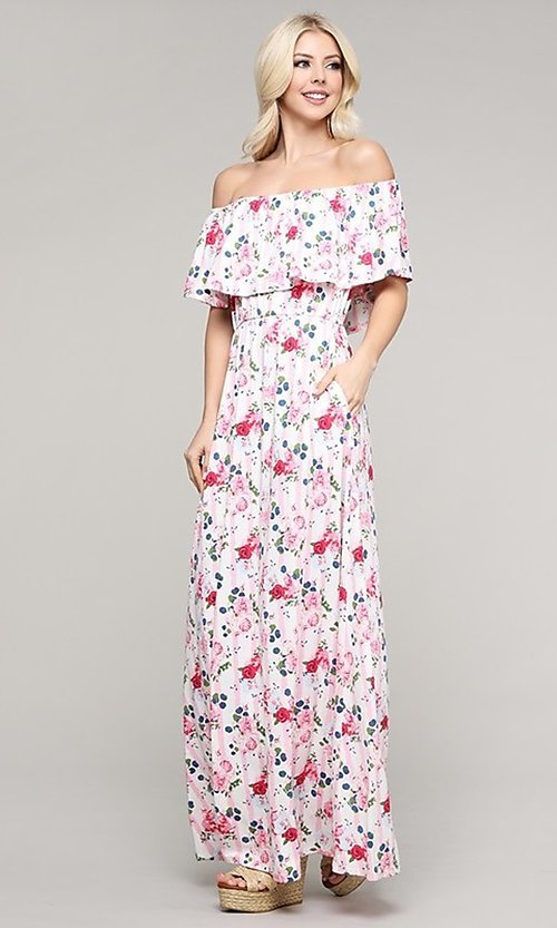 Image of casual off-the-shoulder long pink print maxi dress. Style: FG-NXS-21-CWDMD152 Front Image
