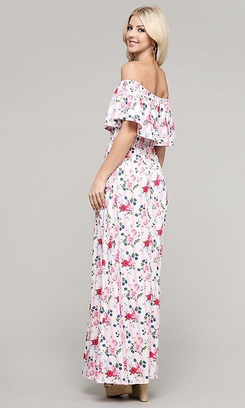 Image of casual off-the-shoulder long pink print maxi dress. Style: FG-NXS-21-CWDMD152 Back Image