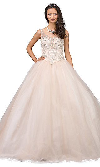 Corset-Back Beaded Champagne Quinceanera Dress