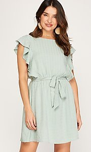 Image of ruffled cap sleeve short woven casual party dress. Style: FG-BNB-21-SSSS79778 Detail Image 1