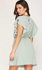 Image of ruffled cap sleeve short woven casual party dress. Style: FG-BNB-21-SSSS79778 Detail Image 2