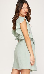 Image of ruffled cap sleeve short woven casual party dress. Style: FG-BNB-21-SSSS79778 Detail Image 4