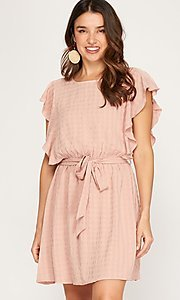 Image of ruffled cap sleeve short woven casual party dress. Style: FG-BNB-21-SSSS79778 Front Image