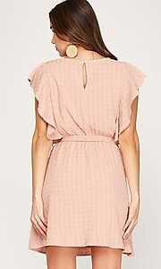 Image of ruffled cap sleeve short woven casual party dress. Style: FG-BNB-21-SSSS79778 Back Image