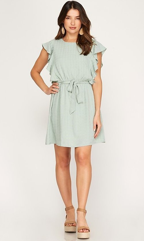 Image of ruffled cap sleeve short woven casual party dress. Style: FG-BNB-21-SSSS79778 Detail Image 3