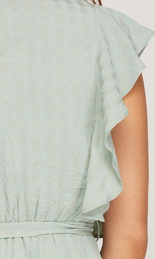 Image of ruffled cap sleeve short woven casual party dress. Style: FG-BNB-21-SSSS79778 Detail Image 5