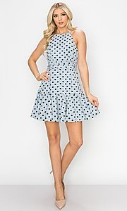 Image of light blue short polka dot casual party dress. Style: FG-INA-21-IDF76439 Front Image