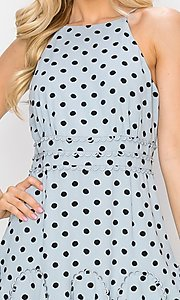 Image of light blue short polka dot casual party dress. Style: FG-INA-21-IDF76439 Detail Image 1